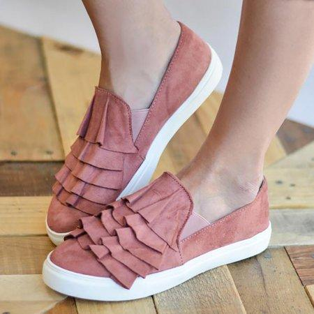 Casual Canvas Loafers 3D Round Toe Flats Slip On Loafers