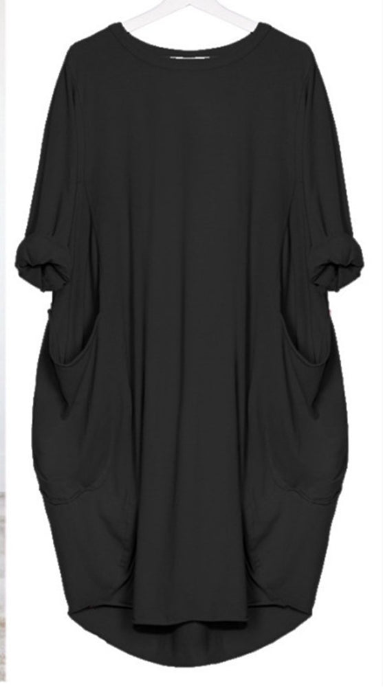 02202aa1b Womens Plus Size Crew Neck Loose Long Sleeve Solid Dress Tops – shecici