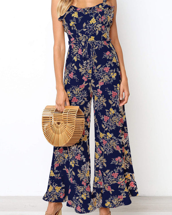 Summer Beach Floral Printed Maxi Jumpsuit