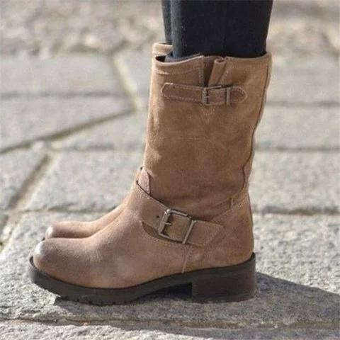 Adjustable Buckle Ankle Boots Block Heel Riding Boots