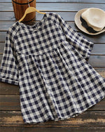 Women Casual Short Sleeve Plaid Tops