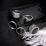 Bohemian Totem Black 5 Piece Ring Set
