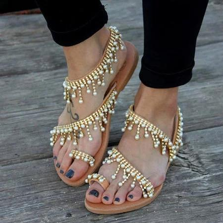 fd3705cb6a7b Women Bohemian Style Sandals Casual Beach Pearls Shoes – shecici