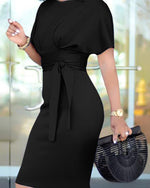 Women's Elegant Short Sleeve Busniess Bodycon Pencil Dress Belt
