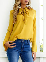 Long Sleeve Elegant Solid  Round Neck Self-tie Design Blouse