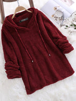 Fleece Hooded Solid Color Autumn Winter Long Sleeve Sweatshirts