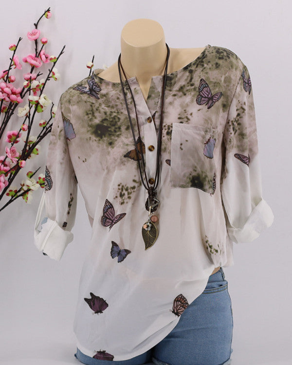Casual Plus Size Butterfly Printed Blouse