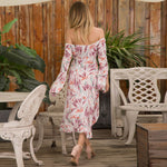 Women Sexy Off-Shoulder Leaf Print Bardot  Midi Dress