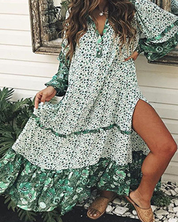 Women Summer Floral Sprig Maxi Dress