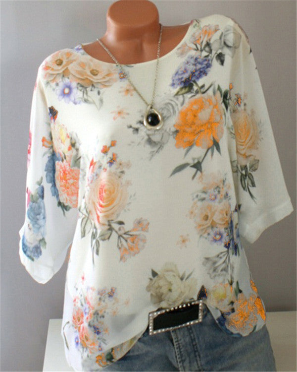Crew Neck Half Sleeve Casual Floral Printed Blouse