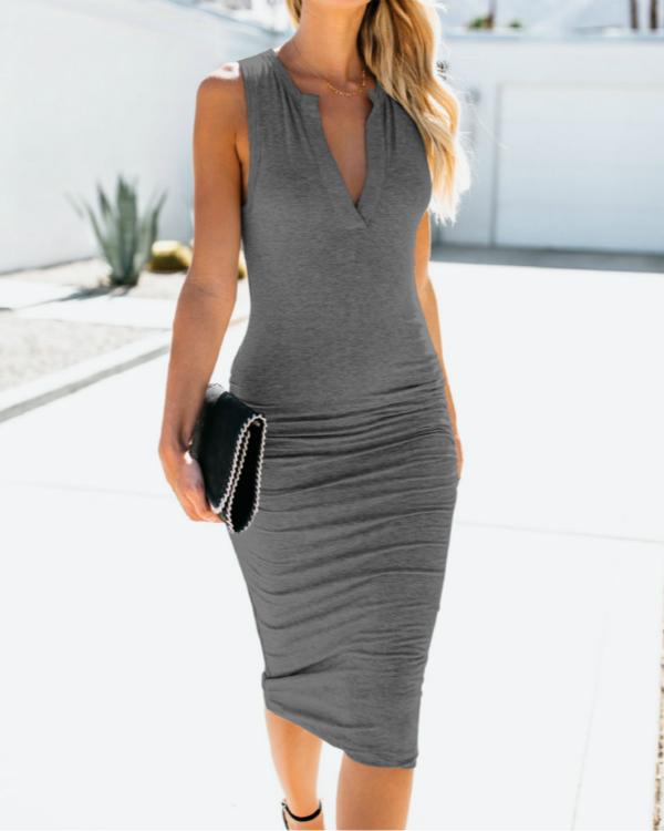 Women V Neck Daily Summer Dress Sleeveless Bodycon Dress