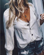 V Neck 3/4 Sleeves Button Up Casual Sexy Shirt Blouses Tops