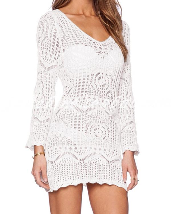 Women Sexy Long Sleeve Lace Hollow Mini Dress