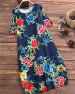 Summer Crew Neck Casual Floral Printed Plus Size Dress