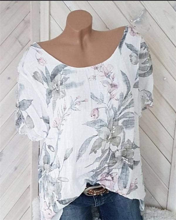 Casual Printed Crew Neck  Plus Size Blouses Tops
