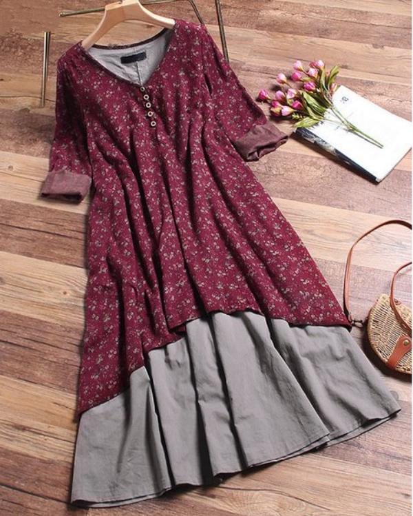 V Neck Wine Red Women Casual Dresses A-Line Paneled Dresses