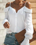 Solid Sexy Boat Neckline Long Sleeve Blouses