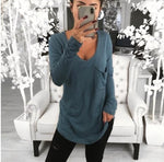 Plus Size Pure Color V Neck Pockets Casual Base T-Shirts