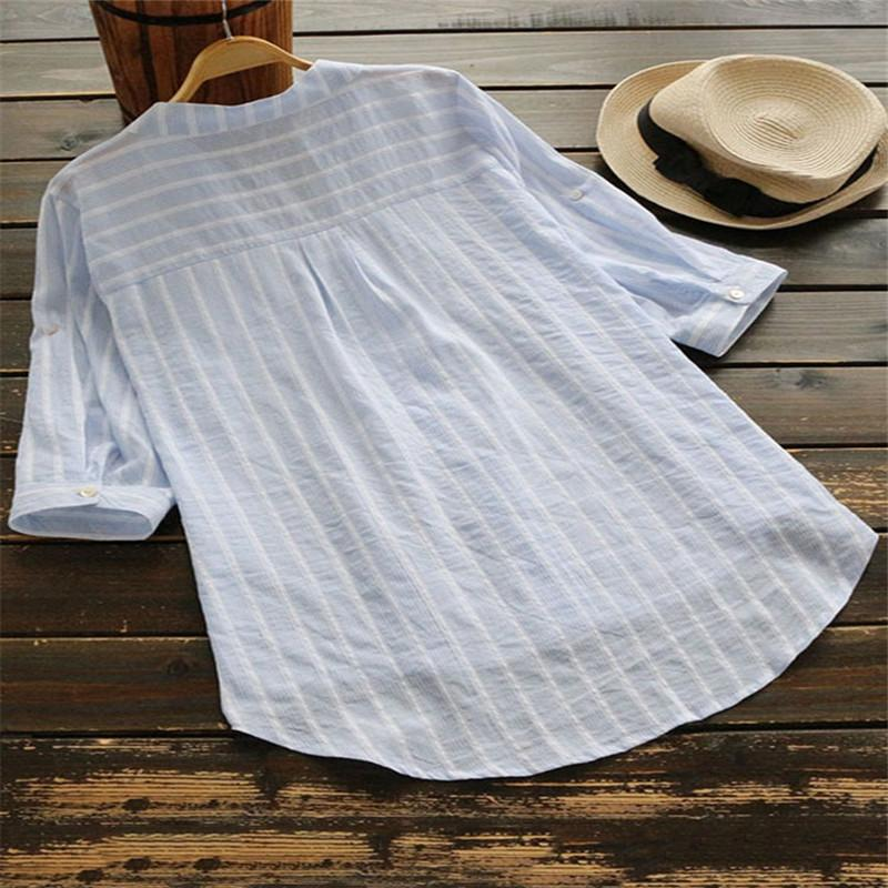 Casual 3/4 Sleeve Stripes Linen Shirts Tops
