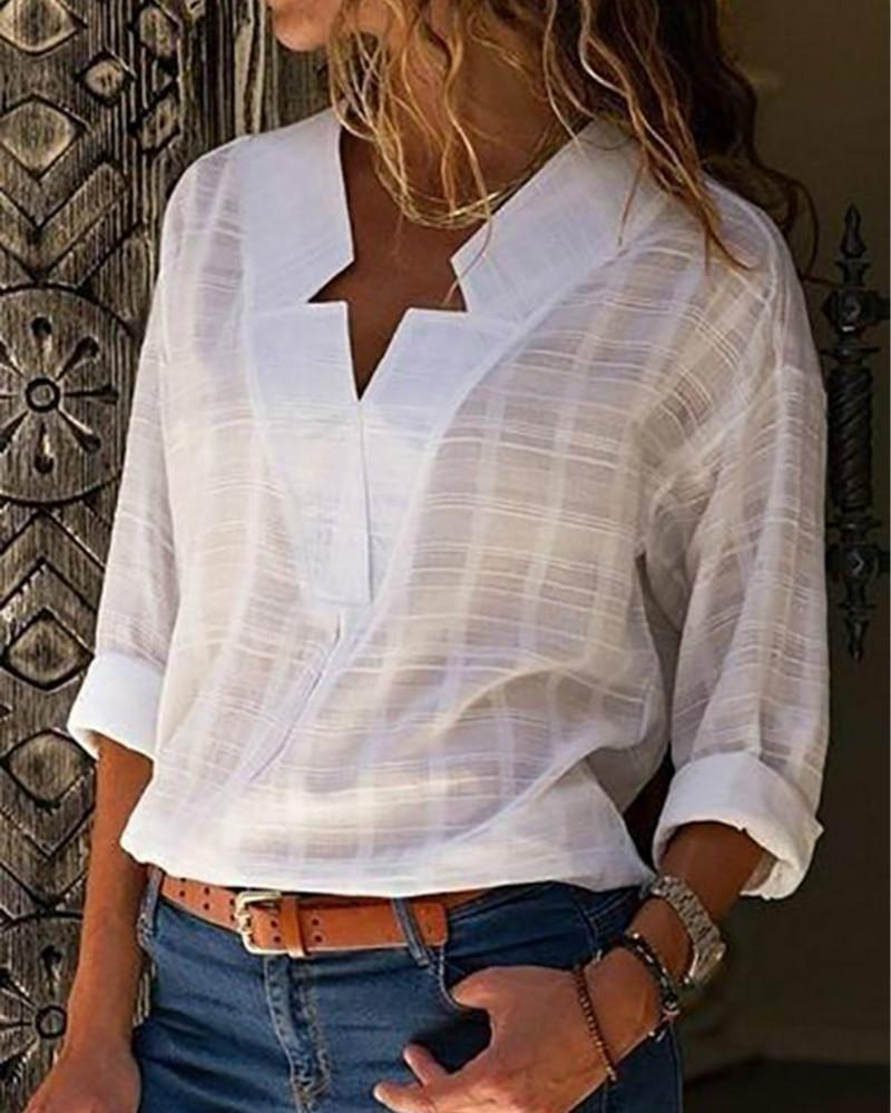 Shecici Sexy V Neck Pure Color Long Sleeve Blouses