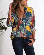 Women Vintage Long Sleeve Daily  Multicolor Pockets Shirt Tops