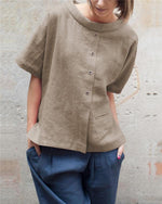 Solid Linen Short Sleeve Women Summer Tops