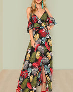 Women Summer V Neck Swing Beach Casual Floral Printed Dresses