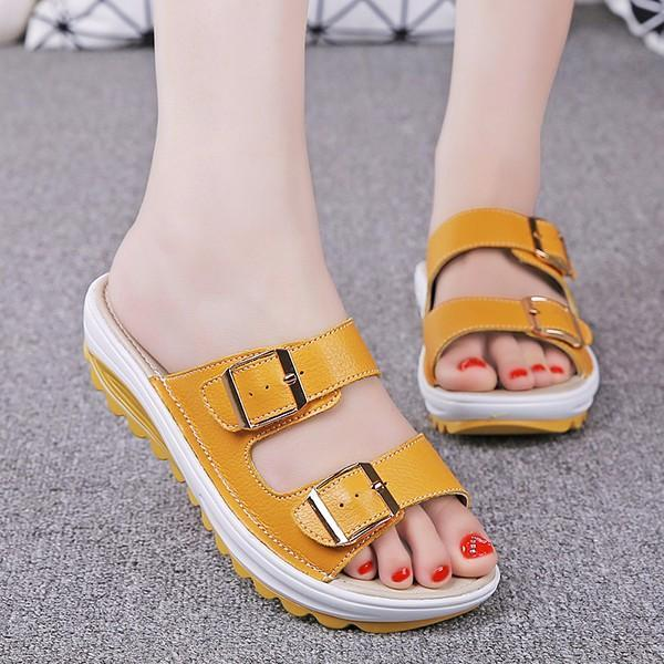 Large Size Women Summer Candy Color Buckle Platform Beach Sandals Slippers