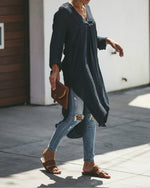 Casual Loose V-neck Long Sleeve Shirt Dress