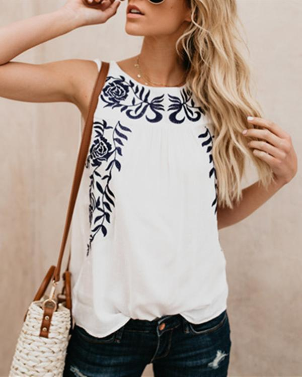 Women Fashion Sleeveless Embroidered Tank Tops