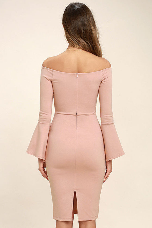 Solid Color Off Shoulder Long Sleeves Bodycon Dress