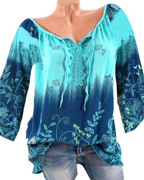Crew Neck Elegant Women Floral Printed Tops