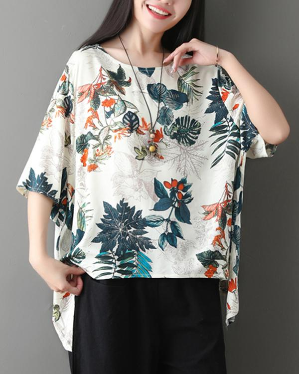 Casual Leaf Printed Crew Neck Half Sleeve T-Shirts Tops
