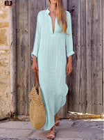 Women Shift Beach Holiday Linen Cotton Long Sleeve Plus Size Dress