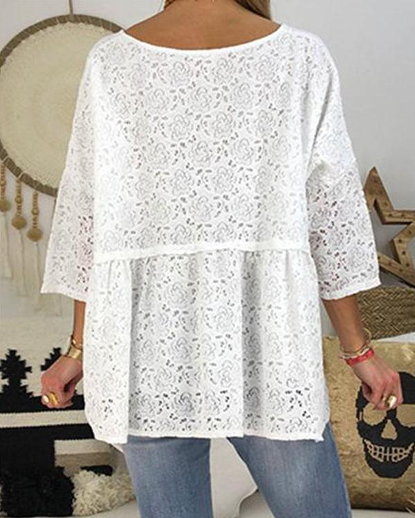 Lace Button Solid Color V Neck Casual Blouses Tops