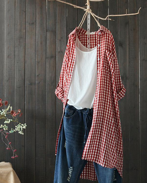 Plaid Lapel Long Sleeve Irregular Vintage Long Blouse Tops