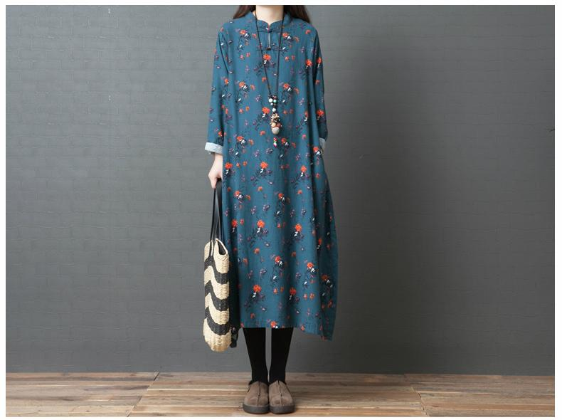 Stand Collar Women Long Sleeve Floral-Print Dresses
