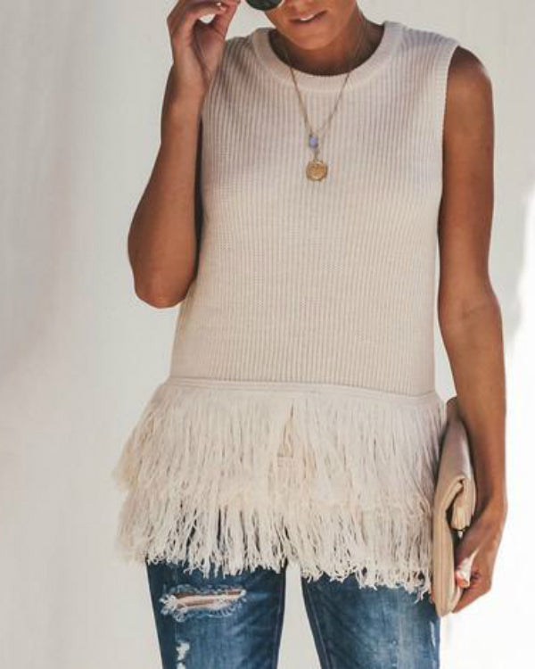 Casual Fringed Crew Neck Solid Tanks Tops