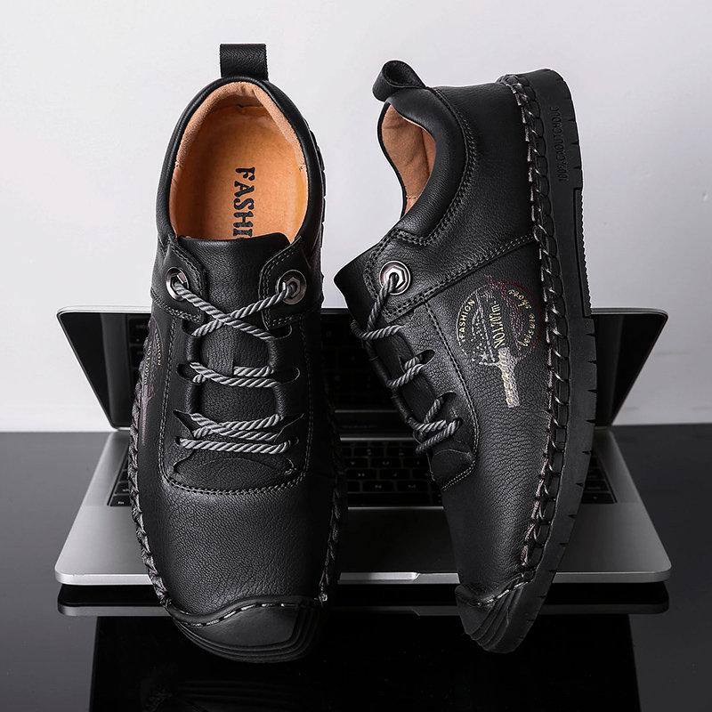 Large Size Men Hand Stitching Leather Anti-collision Non-slip Casual Shoes