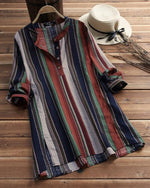 Stripes Button Long Sleeve Vintage Blouses for Women Tops
