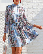 Women Sexy Hallow Lace Strap Trumpet Sleeve Printed Dress
