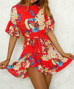 Floral Print Round Neck Flared Sleeves Summer Dresses