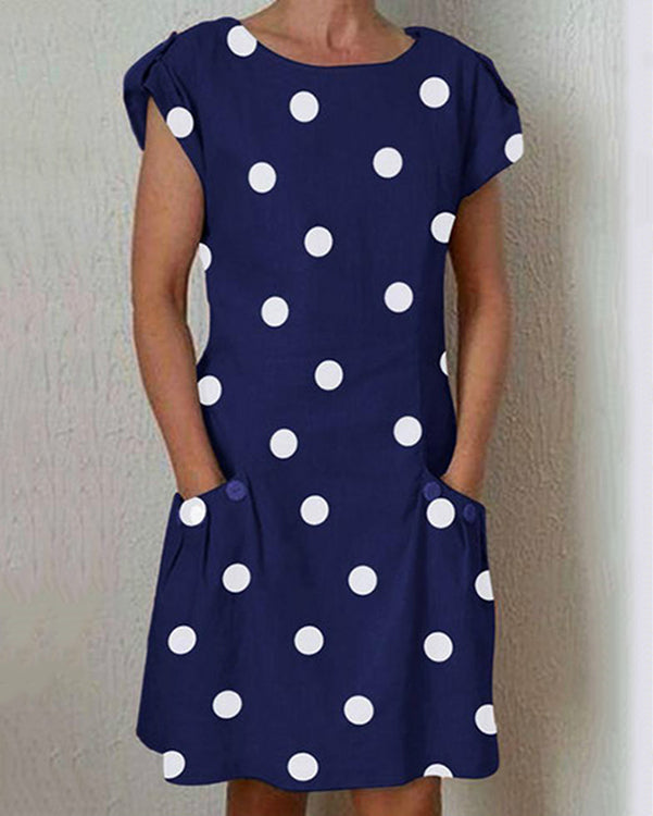 Women Dresses Shift Daily Buttoned Polka Dots Dresses