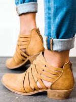 Criss-Cross Ankle Heel Booties Hollow-out PU Chunky Heel Boots