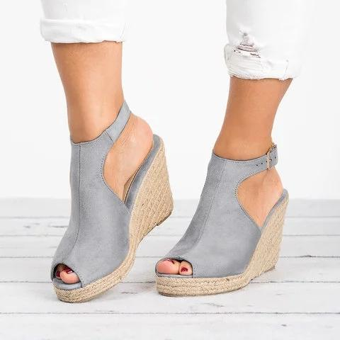 Espadrille Wedge Heel Sandals Adjustable Buckle Peep Toe Sandals