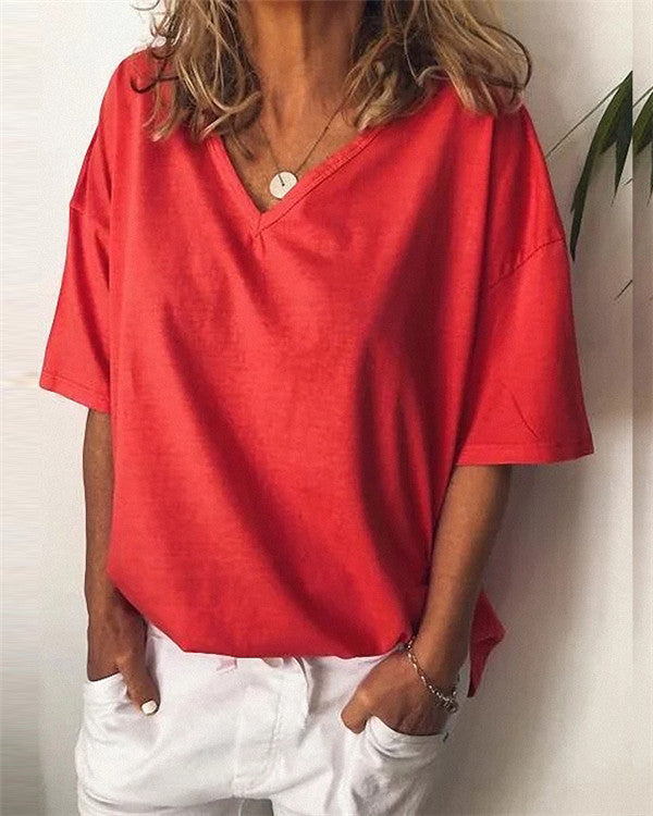 Casual Plus Size V Neck Solid Color Short Sleeve Blouse Tops
