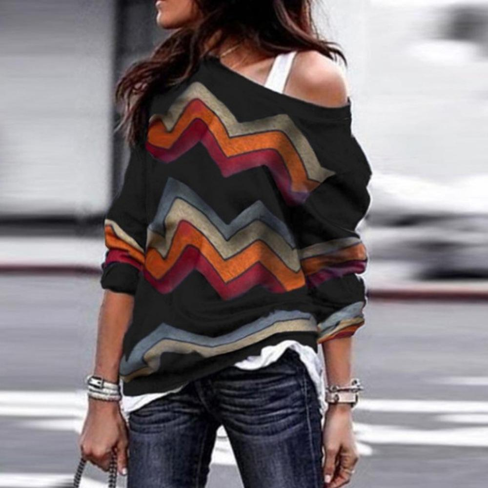 Shecici Vintage One Shoulder Long Sleeve Cotton T-Shirts