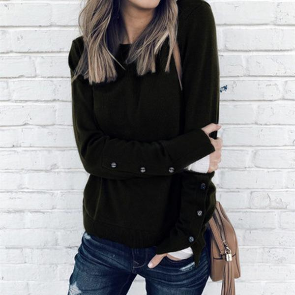 Button split long-sleeved T-shirt top shirt