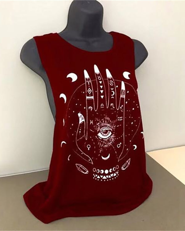 Crew Neck Sleeveless Casual  Printed Tank Tops
