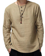 Men's Vintage Cotton Button Collar Solid Color Long Sleeve T-shirt